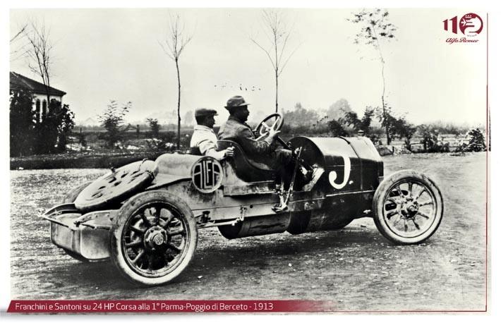 Alfa romeo 24 hp corsa alla parma poggio di berceto 1913