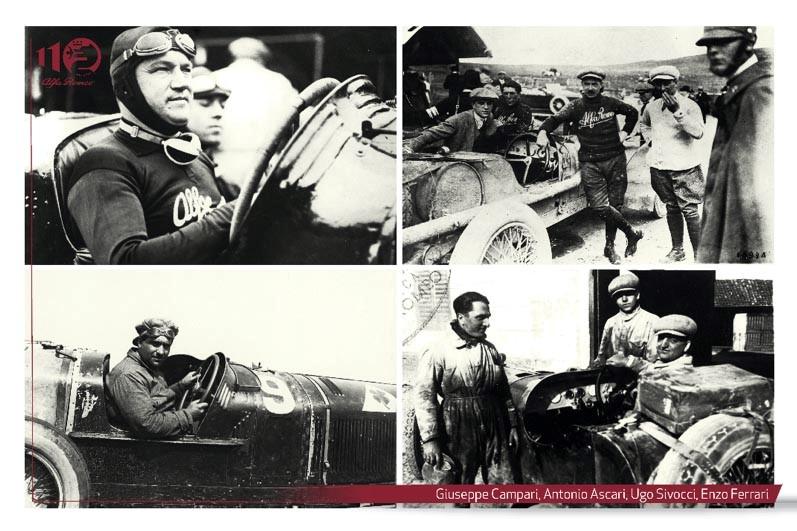 Ascari, campari, sivocci e enzo ferrari piloti alfa romeo