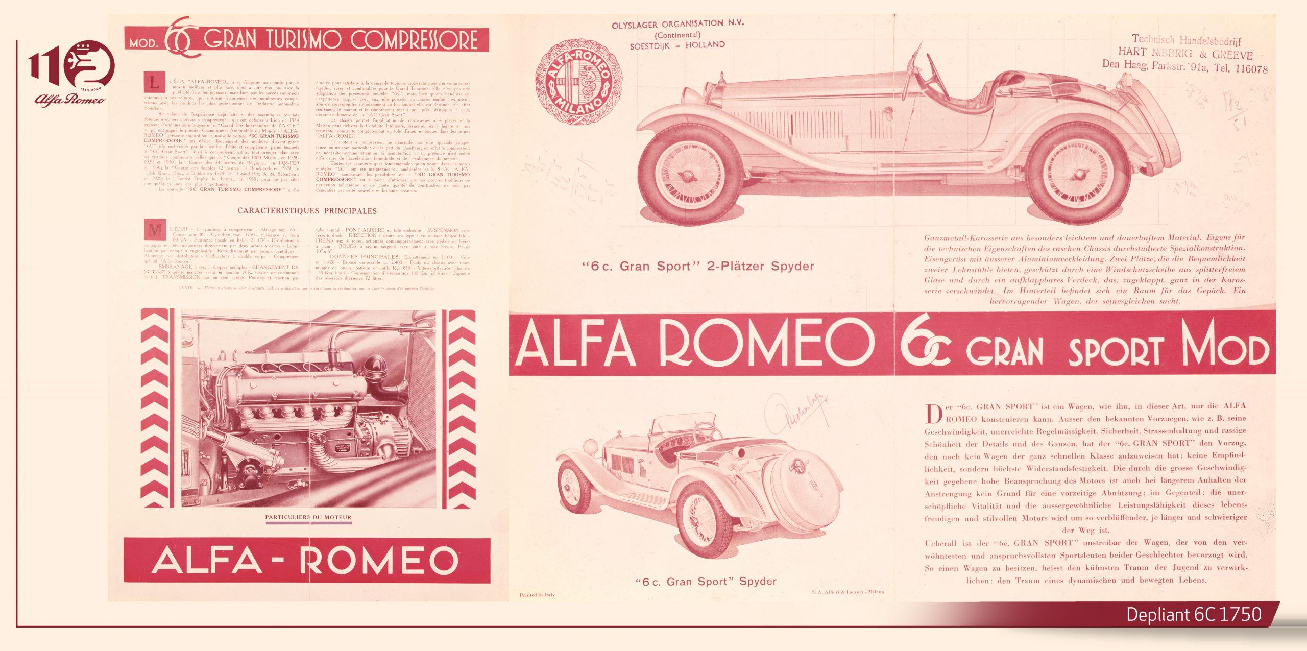 Depliant Alfa Romeo 6c
